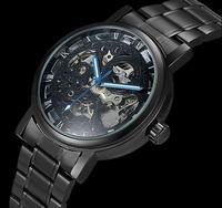New Winner Mechanical Black Stainless steel Wristwatches fashion watch Automatic Hand Wind Watch