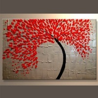 A league Handpainted oil painting Knife red tree paintings . home decors on canvas16x20inch40x50cm)