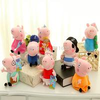 8Pcs/Lot Kids Girls 19CM Plush George Peppa Pig Family Toys Keychain 17CM Daddy Mummy Pig Stuffed Pelucia Pig Peppa Familia Set