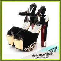 Europe Flower Printing Open Toe Women's High-heeled Shoes 16cm Women Pumps Sandals High Heel Rhinestone