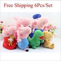 6pcs/set 30CM Peppa Pig Family Plush Doll Toys George Grandpa And Grandma Peppa Teddy Bear And Geroge Dinosaur Kids For gift