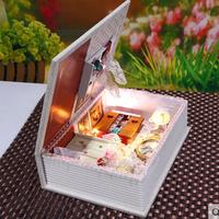 Free Shipping DIY House Wood House Dollhouse Cute Furnitures 3D Home Model Handmade Assembling Kit Children