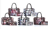Free Shipping Latest New Euramerican Fashion Women's Bags Imitation Leather Handbags Rivet Printing Decoration  Hot Sale