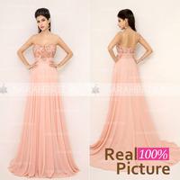 Cheap Graceful Long Pink Evening Gown In Stock Spaghetti Strap Floor-length Beaded Evening Dresses Hotsale Chiffon A-line Dress