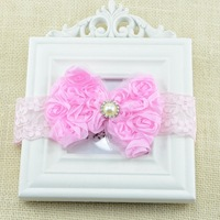 Fashion bow flower Baby girl headband with pearl Kids hair accessories Infant hair band 10pcs HB295