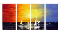 4league Handpainted Colorful sailing oil painting .living room wall decor on canvas 8x20inchx4(20x50cmx4)