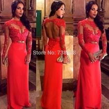 2014 Red Evening Dress Open Back Long Sleeves Satin Vestido De Festa Elegant Party Celebrity Dresses Gowns Vestidos Custom Make(China (Mainland))