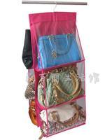 Multi functional storage case for bags handbag wardrobe clothing storage organizer 6 layers hanger clear non woven bag rack