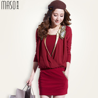2014 women's one-piece dress elegant elastic slim female long-sleeve slim hip