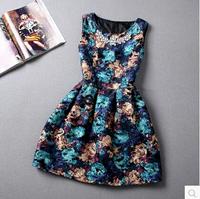 Free shipping 2015 spring women's fashion slim elegant flower pattern girls dress