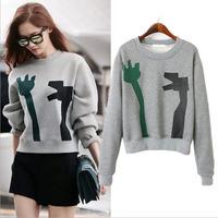 FS-1483  Ebay Hot sale Winter 2014 fit European Casual O-Neck Grey color Sweatshirt with Print Sport suit women, Wholesale