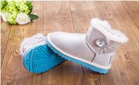 New 1003889   crystal Button Real Sheepskin Fur  waterproof  leather MINI short  women   winter warm snow boots shoes shoe