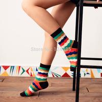 Autumn Winter Couples Socks Men and Women Stripes Cotton Socks 2 Pairs/lot 52284