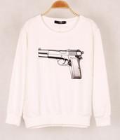 New  Autumn Sweatshirt Women Sports Tracksuits Long Sleeve Cool Gun Printed Sweatshirt Casual Hoodies Women Hoody Pullover-L087