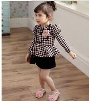 5pcs Children girl's 2014 Swallow gird Long sleeve gentlewoman dress 2colors qz553