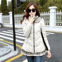 2014 Winter women's A - shaped type cotton-padded jacket medium-long cloak down coat outerwear free shipping