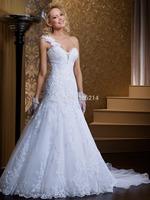 2015 Vestido De Noiva Sweetheart One Shoulder Wedding Dress Bridal Gown Bride Dresses  Custom Size 2 4 6 8 10 12 14 16 18 20++