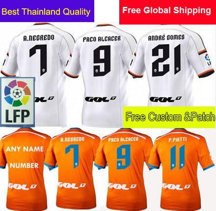 2015 Soccer Jersey Valencia Home White A.Negredo Paco Alcacer 14 15 Valencia FC Away Orange Custom Camisetas Futbol 14/15 Shirt(China (Mainland))