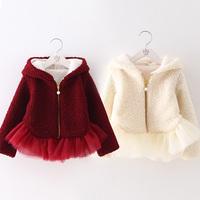 2014 Winter Korean new Lotus Leaf edge yarn female children's clothing children's padded hooded wool coat