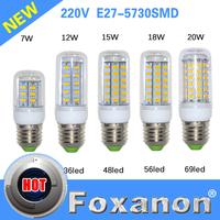 Foxanon Brand E27 Led Lamps 5730 220V 7W 12W 15W 18W 20W LED Lights Corn Led Bulb Christmas Chandelier Candle Lighting 9PCS/Lot