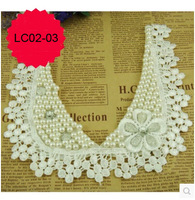Free shipping 1 piece/lot high quality Craft Garment accessory  cotton neckline with flower and beads decoration, lace collar