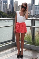 Fashion Women Tiered Asymmetric Bow Wrap Skorts Mini Short Pants Multi-color Shorts Feminino