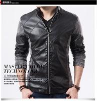 Slim Korean men leather stitching leather men's leather jacket men leather thin section autumn coat