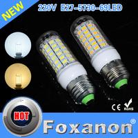 Foxanon Brand E27 69SMD Led Lamps 5730 220V Ultra Bright LED Lights Corn Bulb  Christmas Chandelier Candle Lighting 5PCS/Lot