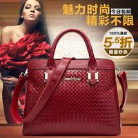 2014 knitted genuine leather shoulder bag fashion cross-body handbag clutch women's handbag big bag