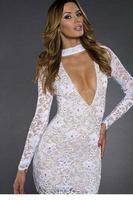 dear-lover new vestido Sexy Rhinestones White Lace Hollow-out Bodycon Dress LC21814 roupas femininas