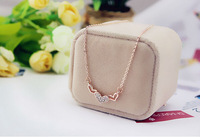 New 18K Rose Gold Plated Chain Austrian Crystal Heart Pendant Alloy Necklace Women Jewelry, Wonderful Gift For Love