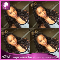 Loose curly virgin hair full lace wig nature black colro can be dye in any color ,soft and nice hair  lace front wig