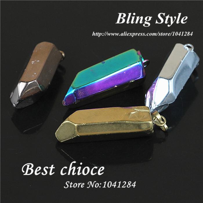 Natural Crystal gold,rose gold,rainbow and silver titanium quartz stone pendant,hexagon druzy agate precious stone pendant(China (Mainland))