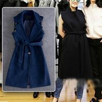 Winter Women's Fashion Bloggers Faux Leather Edging Notched Lapel Sleeveless Jacket Vest Gilet Coat Waistcoat With Belt Colete