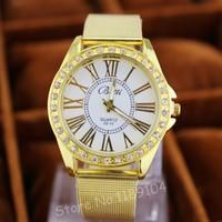 2014 New Fashion Women's Golden Watch Roman Numerals Full Steel Casual Watches Unisex Clocks Men's Watch Free Shipping
