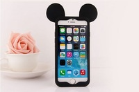 Free shipping 2014 new arrivel for iphone 6 4.7 case cartoon silicone mickey ears for iphone 6 4.7inch cell gift hot sale