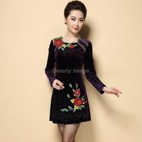 Fall 2014 New Europe and Velvet Dress Women's Clothing Winter Dresses Vestidos Curtos Flower Dress