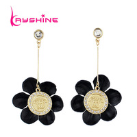 Black Flower Shape Earring Brincos Grandes Long Dangle Earring from Indian Earrings for Fashion Lady