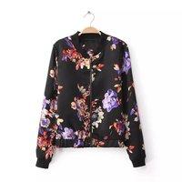 autumn and winter new European style retro print drift sleeved jacket zipper collar blouse 6227