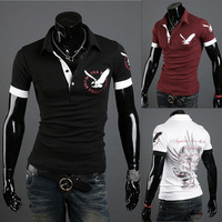 2014 summer wear the new men's eagle printed shirts men POLO shirts with short sleeves