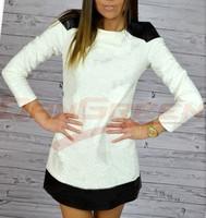 2014 new fashion women's autumn winter knitting jacquard dresses casual PU splicing dress FOR WOMEN