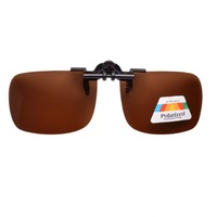 Free shipping Patented Brown Polarized Clip on Flip up Sunglasses,Night Driving Glasses Clip-ons With Case F8