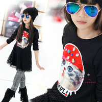 Free Shipping New 2014 Kitty Beading Warm Elastic Casual Winter Girl Dresses Vestidos Long Sleeves Kidsdress Clothes a0290DT15