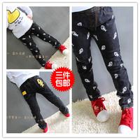 Children autumn boys girls child jeans trousers skinny pants children cartoon elastic denim long pencil pants - Black/Grey