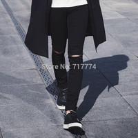 Free shipping 2014 new fashion brand men casual pants knee hole denim skinny pants street black compression pants / tights