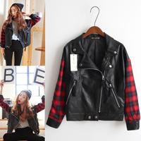 Free shipping new winter girls long-sleeved plaid jacket stitching rock zipper PU leather jacket motorcycle clothing
