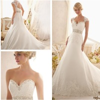 Hot Sell 2015 Sexy Ball Gown Lace Appliques On Tulle Edged and Wide Hemline Detachable Cap Sleeves 2616 Wedding Dresses