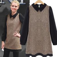 New Arrival 2015 European big brand design fashion hot sale all match plus size casaul dress women patchwork ruffles vestidos