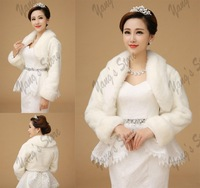 Free Shipping Bride Jackets With Fur Neckline Long Sleeve Wedding Bolero Winter Bridal Wraps Ivory 6799