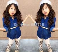 Wholesale 2015 new arrive girls fashion jacket+Leopard pants autumn wear children cloth set kids2 pcs set children clothing sets